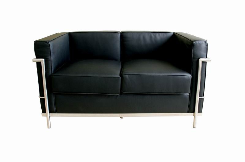 Baxton Studio Le Corbusier Black Leather Loveseat affordable modern furniture in Chicago, Le Corbusier black leather loveseat, corbusier furniture,  le corbusier furniture, Living Room Furniture Chicago