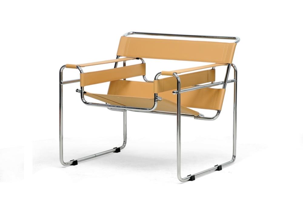 baxton studio jericho tan leather mid century modern accent chair