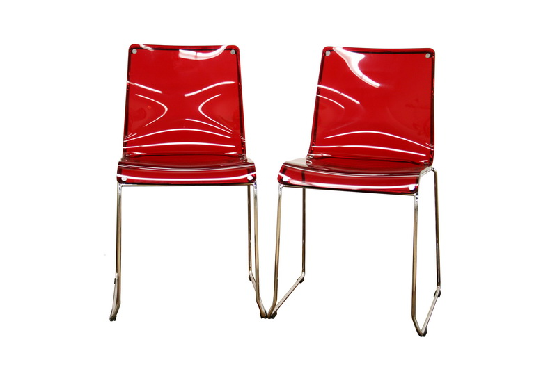Lino Transparent Red Acrylic Accent Chair Dining Chair | Affordable Modern  Design | Baxton Studio