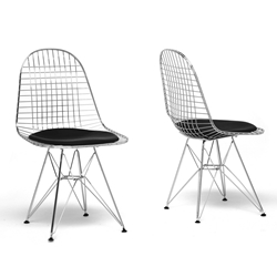 Baxton Studio Avery Mid-Century Modern Wire Chair with Black Cushion (Set of 2) Baxton Studio Avery Mid-Century Modern Wire Chair with Black Cushion (Set of 2), Baxton Studio Affordable Modern Furniture