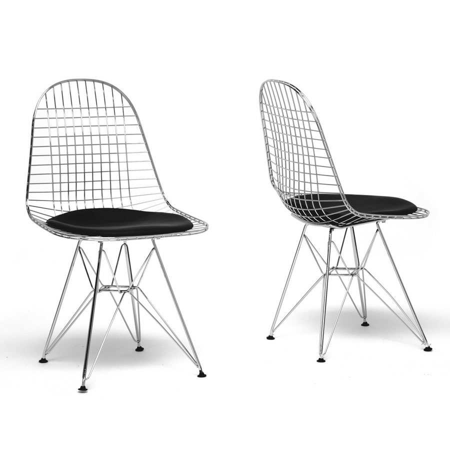 Baxton Studio Avery Mid Century Modern Wire Chair With Black Cushion (Set  Of 2