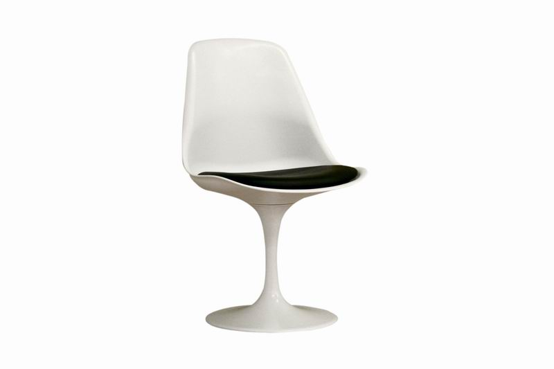 Tulip White Plastic Accent Chair With Black Cushion Affordable