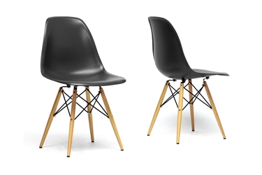 Baxton Studio Azzo Black Plastic Mid-Century Modern Shell Chair (Set of 2) Baxton Studio Azzo Black Plastic Mid-Century Modern Shell Chair (Set of 2), Baxton Studio Affordable Modern Furniture