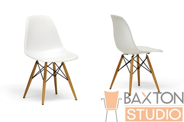 Baxton Studio Azzo White Plastic Accent Chair with Metal Support Wood Leg (set of 2) Azzo White Plastic Accent Chair with Metal Support Wood Leg (set of 2), BSDC-231A-White-Set, Baxton Studio Affordable Modern Design