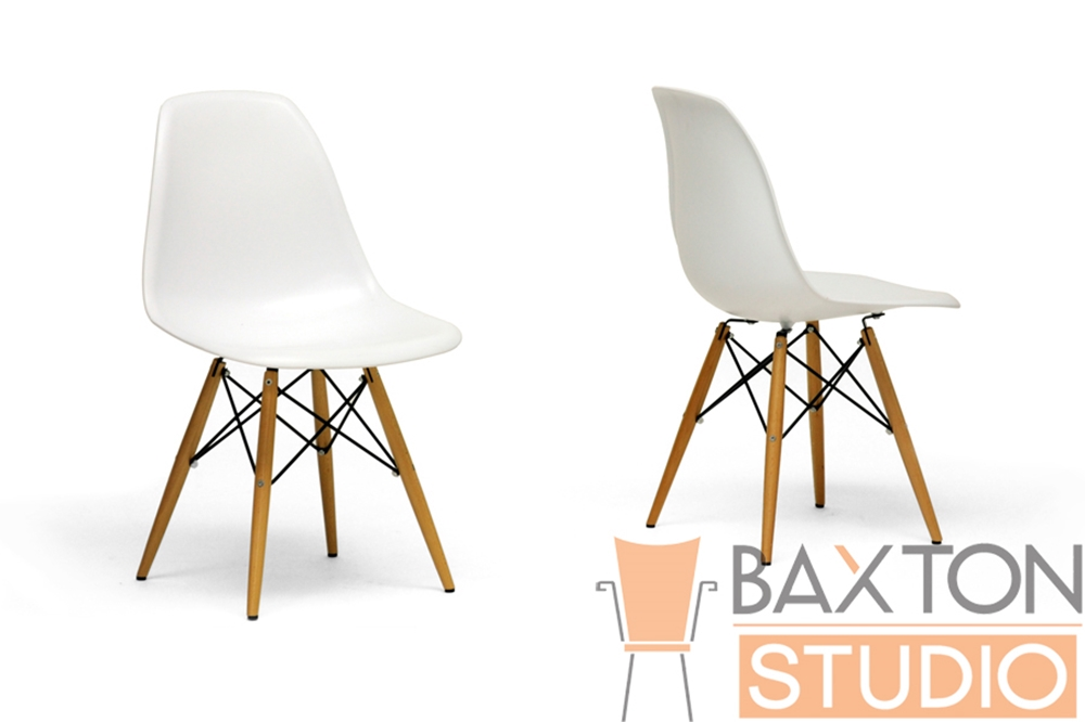 Azzo White Plastic Accent Chair with Metal Support Wood Leg  Affordable  Modern Design  Baxton Studio