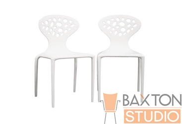 Baxton Studio Durante White Stackable Molded Plastic Chair (set of 2) Durante White Stackable Molded Plastic Chair (set of 2), BSDC-317-White-Set, Baxton Studio Affordable Modern Design