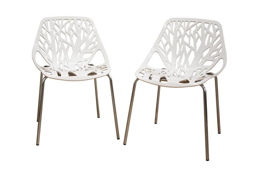 Merveilleux Baxton Studio Birch Sapling White Plastic Accent / Dining Chair (Set Of 2)  Birch