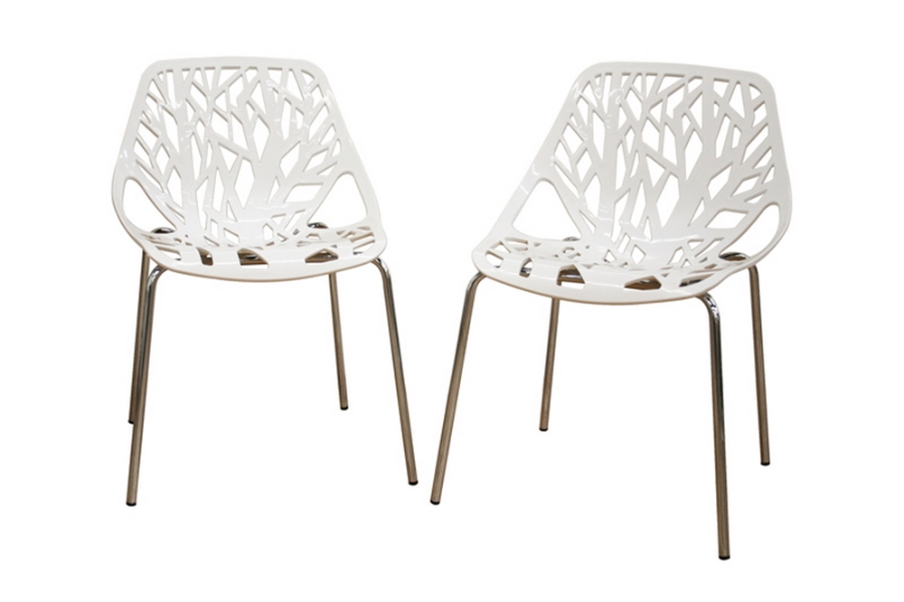birch sapling white plastic accent dining chair