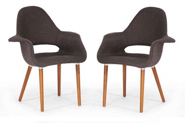 Baxton Studio Forza Dark Brown Fabric Mid-Century Modern Arm Chair (Set of 2) Baxton Studio Forza Dark Brown Fabric Mid-Century Modern Arm Chair (Set of 2), Baxton Studio Affordable Modern Furniture