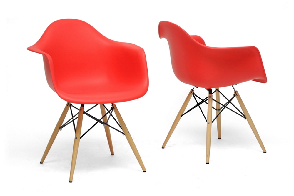 Baxton Studio Pascal Red Plastic Mid Century Modern Shell Chair Set Of 2
