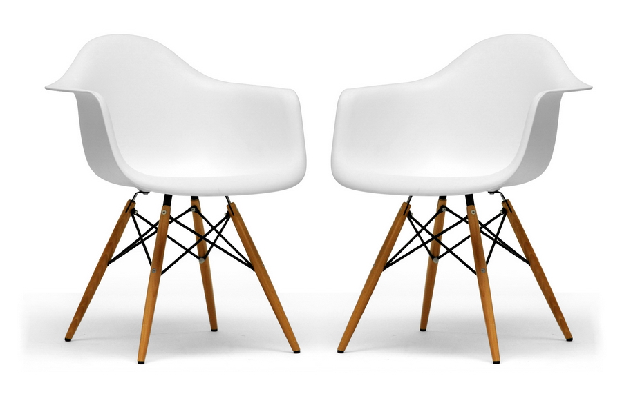Pascal White Molded Plastic Chairs With Brown Wood Legs