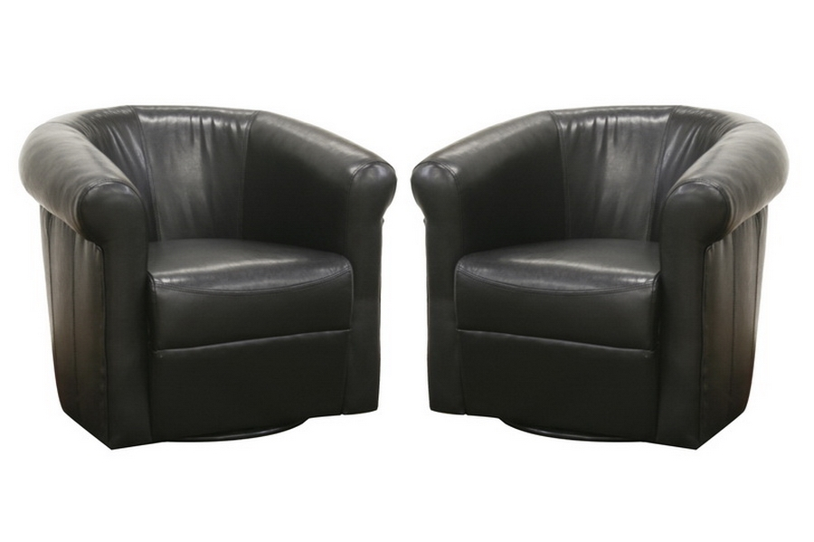 Julian Black Brown Faux Leather Club Chair With 360 Degree Swivel |  Affordable Modern Design | Baxton Studio