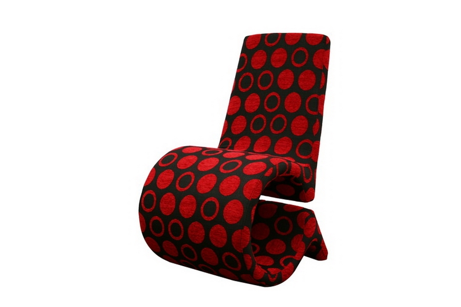 forte red and black patterned fabric accent chair affordable modern design baxton studio