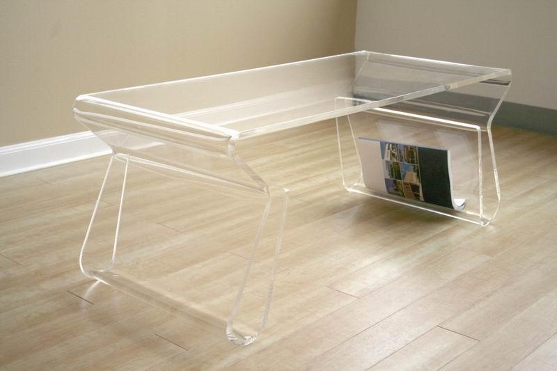 Deena Clear Acrylic Coffee Table With Magazine Rack