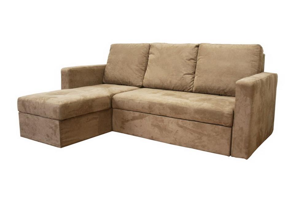Linden Tan Microfiber Convertible Sectional Sofa Bed LFC Affordable Mod