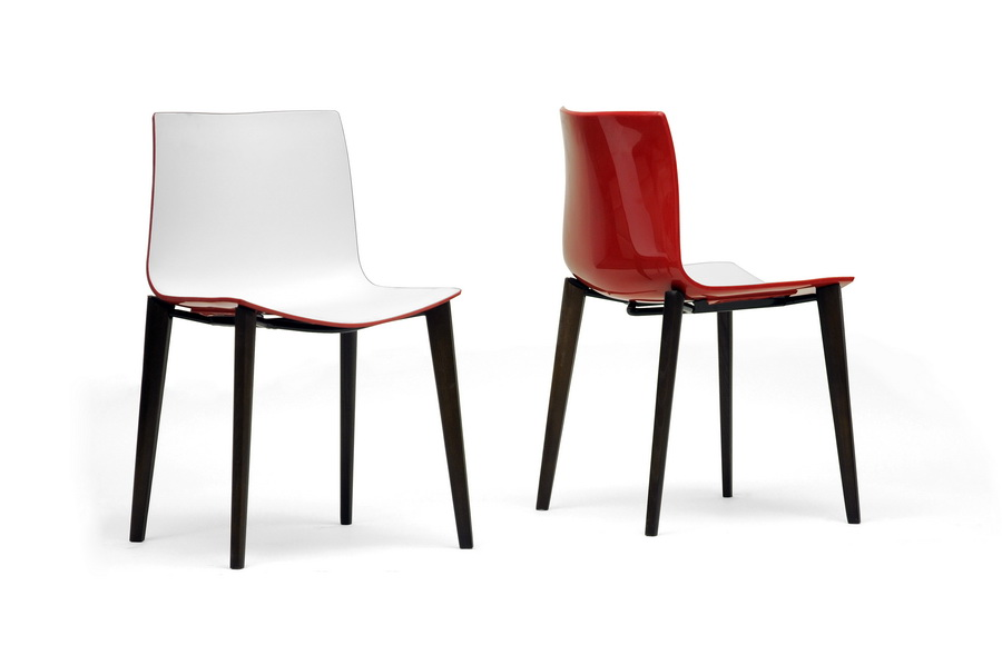 Soren White And Red Modern Dining Chair Set Of 2 Affordable Modern Design Baxton Studio