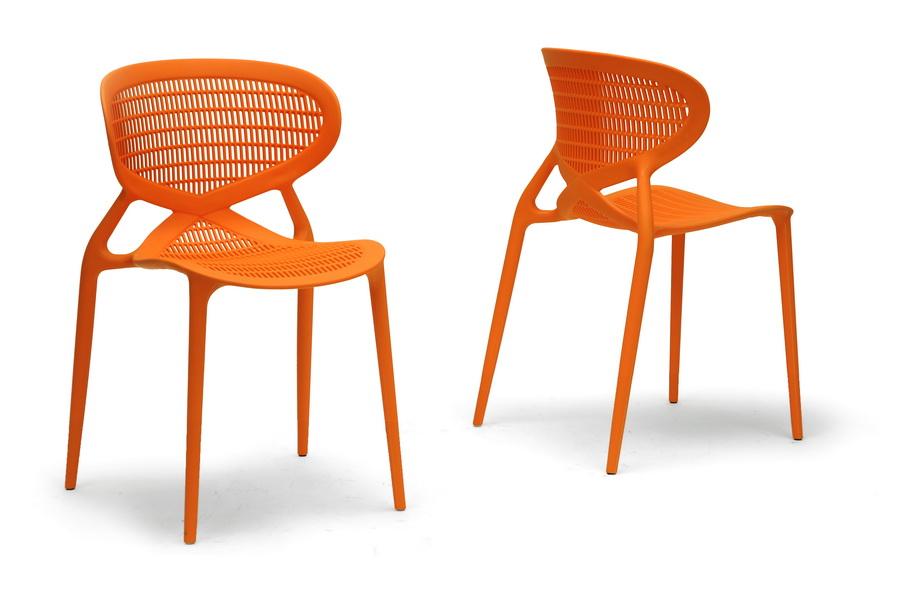 Neo Orange Plastic Modern Dining Chair (Set Of 2) | Affordable Modern  Design | Baxton Studio