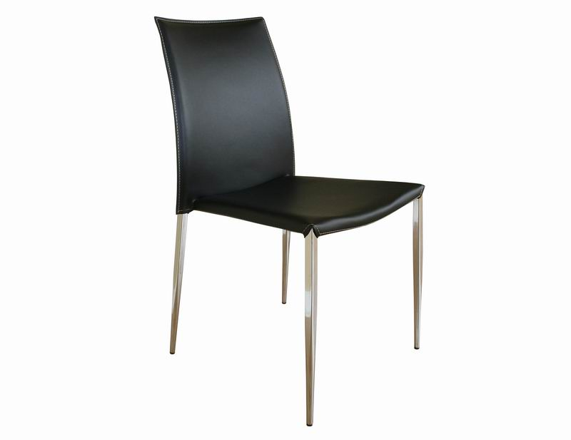 New York Black Leather With Chrome Legs Dining Chairs Affordable
