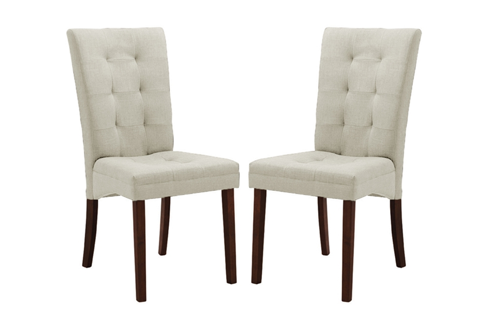 Baxton studio anne beige fabric modern dining chair set for Modern fabric dining room chairs
