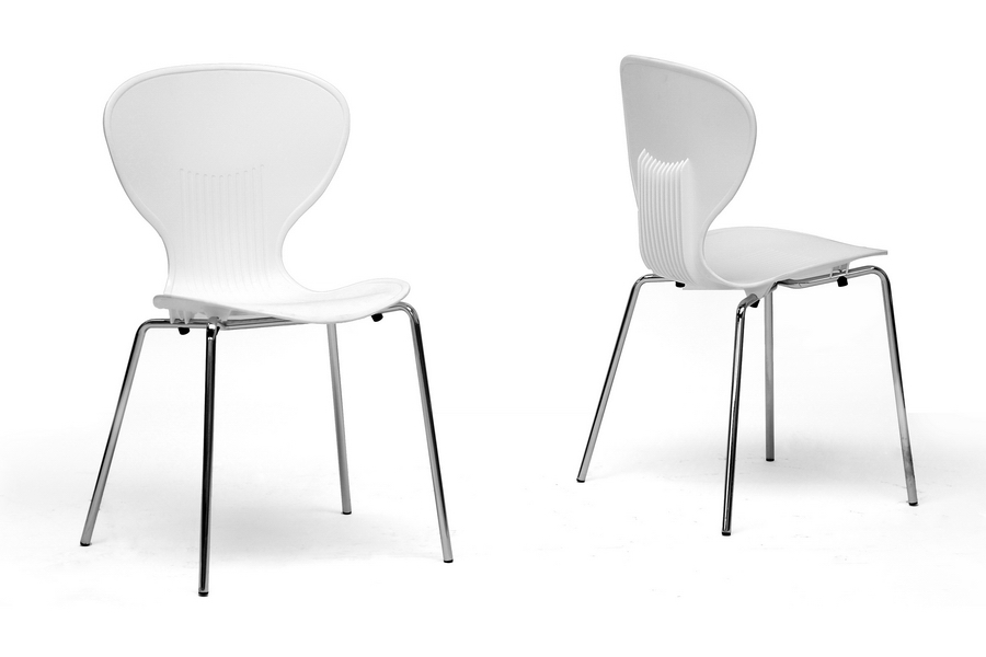 baxton studio boujan white plastic modern dining chair set of 2 boujan white plastic