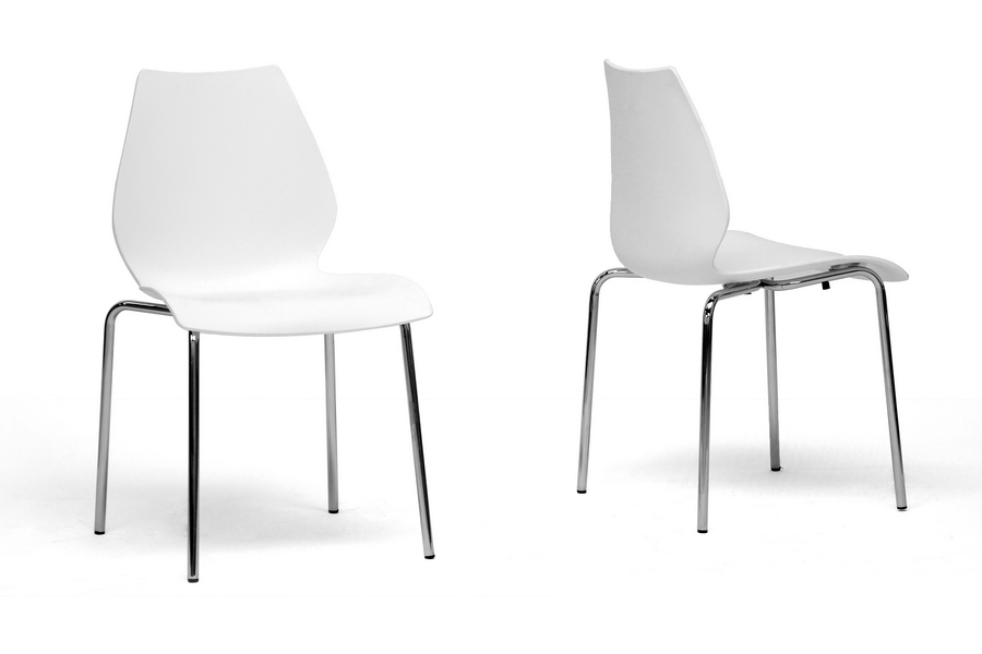 Overlea White Plastic Modern Dining Chair Affordable Design Baxton Studio