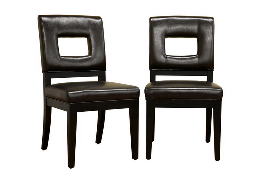 faustino dark brown leather dining chair affordable