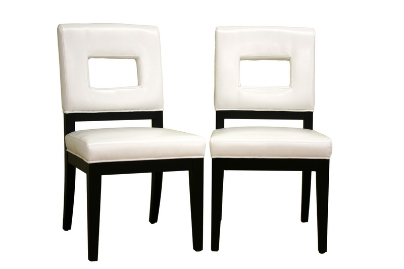 bianca white leather dining chair affordable modern design baxton studio - White Wood Dining Chairs