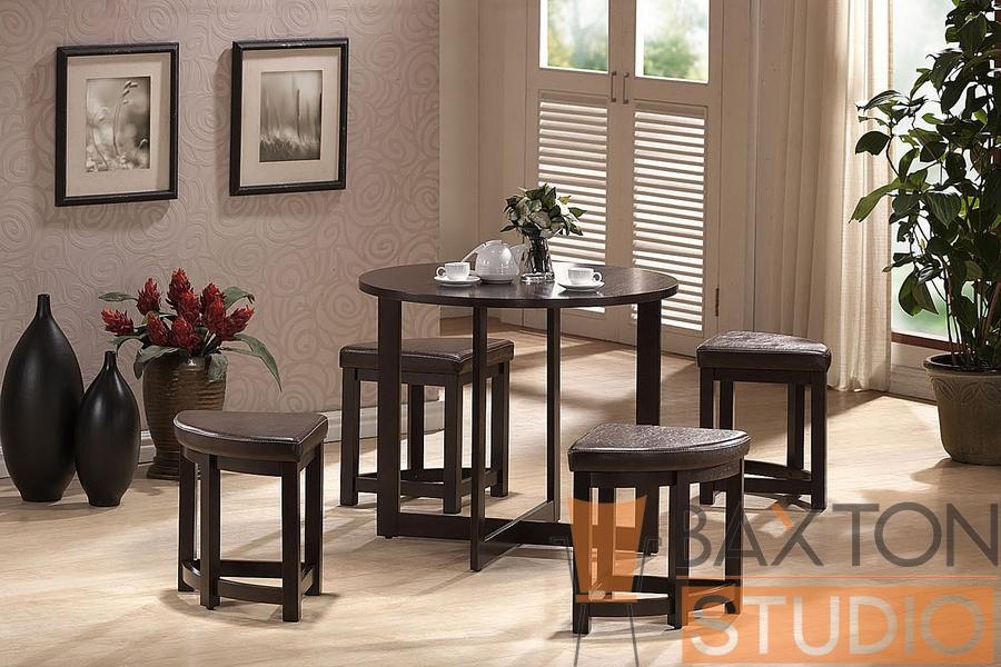Baxton Studio Rochester Brown Modern Bar Table Set With Nesting Stools  Rochester Brown Modern Bar Table