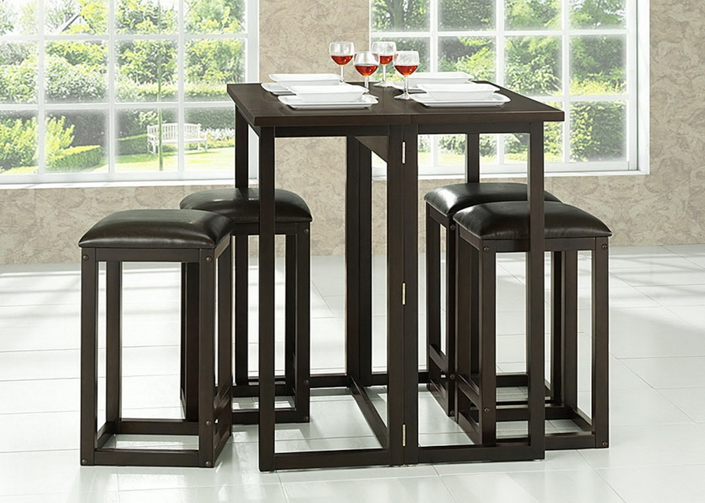 Leeds brown wood collapsible pub table set affordable for Table and bar stools