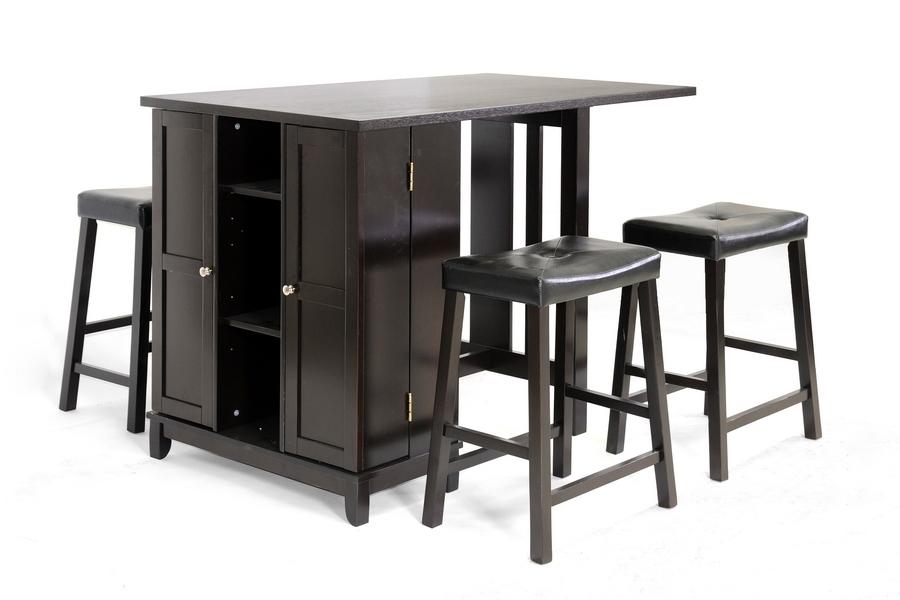 Baxton Studio Aurora 5 Piece Dark Brown Modern Pub Table Set With Cabinet  Base Baxton