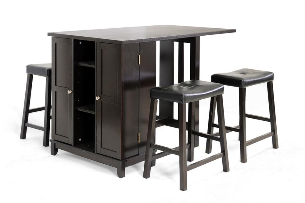 Baxton Studio Aurora 5 Piece Dark Brown Modern Pub Table Set With Cabinet Bas