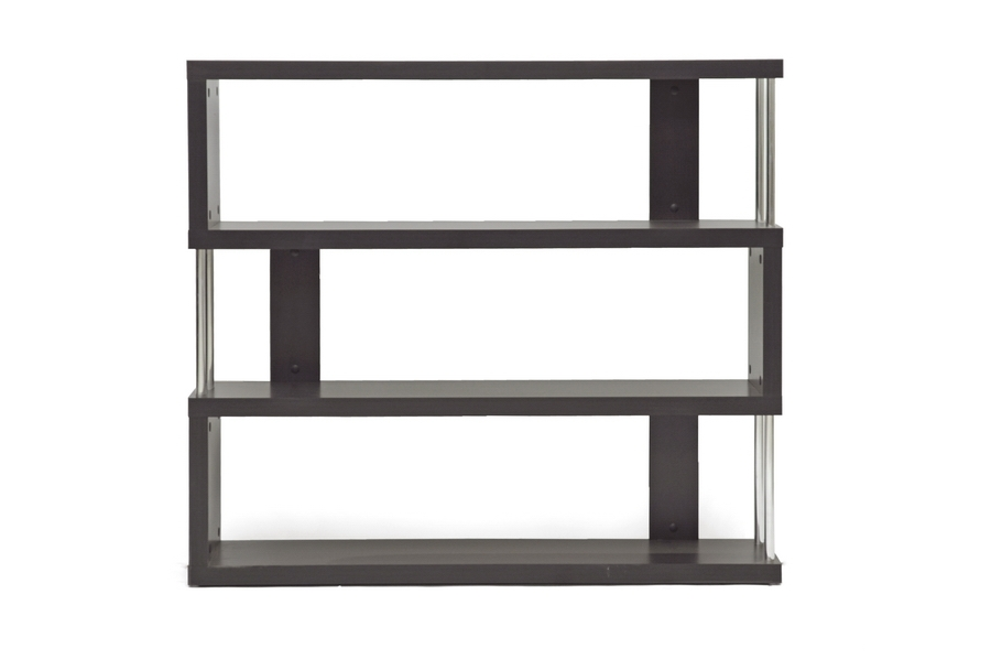 Baxton Studio Barnes Dark Brown Three-Shelf Modern Bookcase Baxton Studio Barnes Dark Brown Three-Shelf Modern Bookcase, FP-3D, Baxton Studio Affordable Modern Design