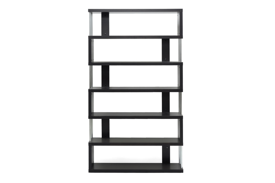 Baxton Studio Barnes Dark Brown Six-Shelf Modern Bookcase Baxton Studio Barnes Dark Brown Six-Shelf Modern Bookcase, FP-6D, Baxton Studio Affordable Modern Design