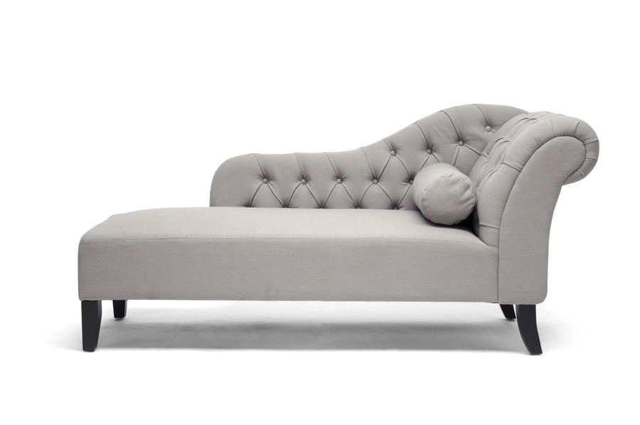 Aphrodite Tufted Putty Gray Linen Modern Chaise Lounge Affordable