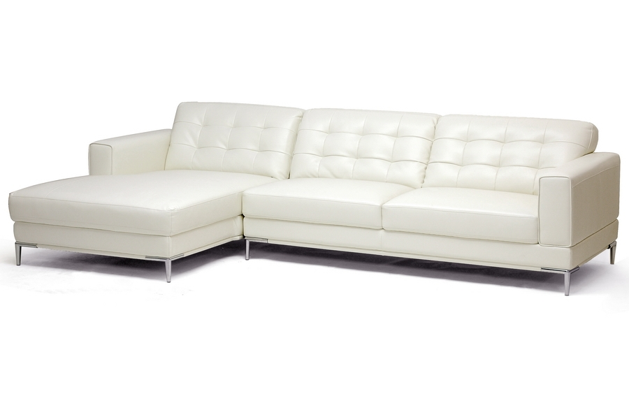 Babbitt Ivory Leather Modern Sectional Sofa | Affordable Modern Furniture  In Chicago