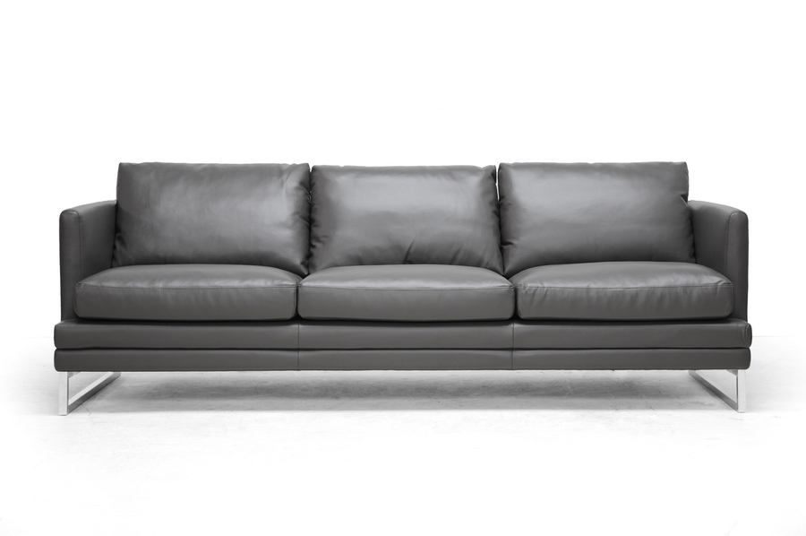 Baxton Studio Dakota Pewter Gray Leather Modern Sofa | Affordable Modern  Furniture In Chicago
