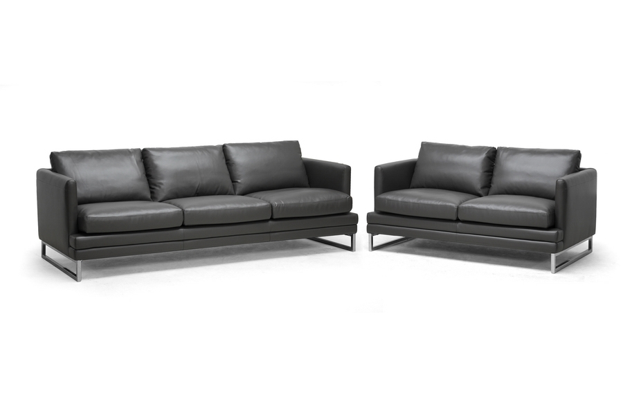 Baxton Studio Dakota Pewter Gray Leather Modern Sofa Set | Affordable  Modern Furniture In Chicago