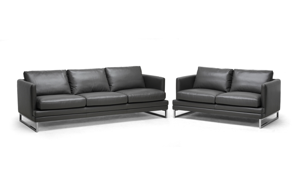 Baxton Studio Dakota Pewter Gray Leather Modern Sofa Set
