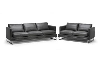 Baxton Studio Dakota Pewter Gray Leather Modern Sofa Set
