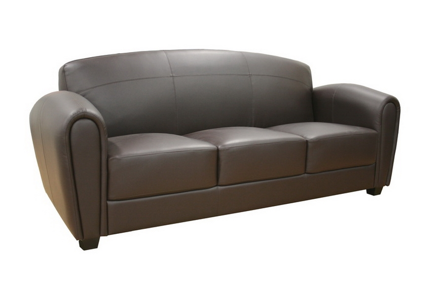 Baxton Studio Sally Brown Leather Modern Sofa affordable modern furniture in Chicago, Sally Brown Leather Modern Sofa