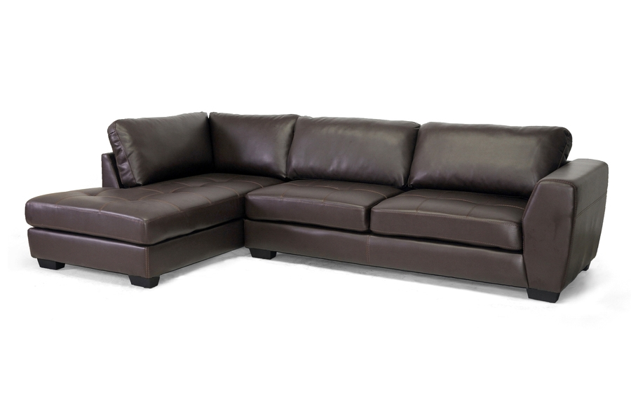 Awesome Baxton Studio Orland Brown Leather Modern Sectional Sofa Set With Left  Facing Chaise