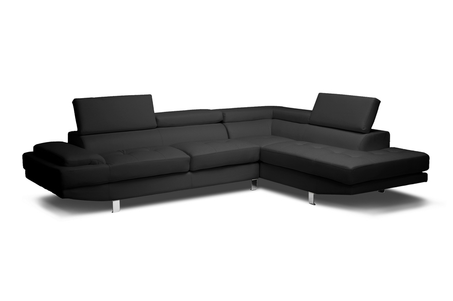 Superb Baxton Studio Selma Black Leather Modern Sectional Sofa