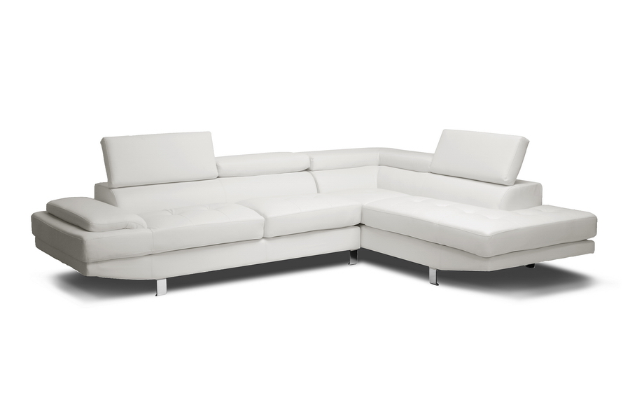 Baxton Studio Selma White Leather Modern Sectional Sofa Affordable Furniture In Chicago