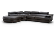 Baxton Studio Adelaide Brown Leather Modern Sectional Sofa (Left Facing Chaise) Adelaide Brown Leather Modern Sectional Sofa (Left Facing Chaise), BSIDS082LT Dark Brown LFC, Baxton Studio Affordable Modern Design