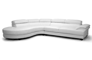 Baxton Studio Adelaide White Leather Modern Sectional Sofa (Left Facing Chaise) Adelaide White Leather Modern Sectional Sofa (Left Facing Chaise), BSIDS082LT Plain White LFC, Baxton Studio Affordable Modern Design