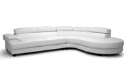 Baxton Studio Adelaide White Leather Modern Sectional Sofa (Right Facing Chaise) Adelaide White Leather Modern Sectional Sofa (Right Facing Chaise), BSIDS082LT Plain White RFC, Baxton Studio Affordable Modern Design