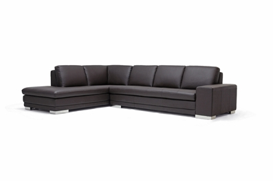 Callidora Brown Leather Sectional Sofa with Left Facing Chaise ...