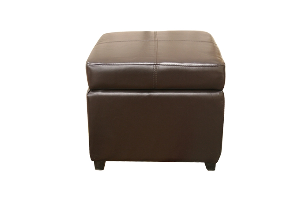 Pandora Brown Leather Small Storage Ottoman With Wood Feet