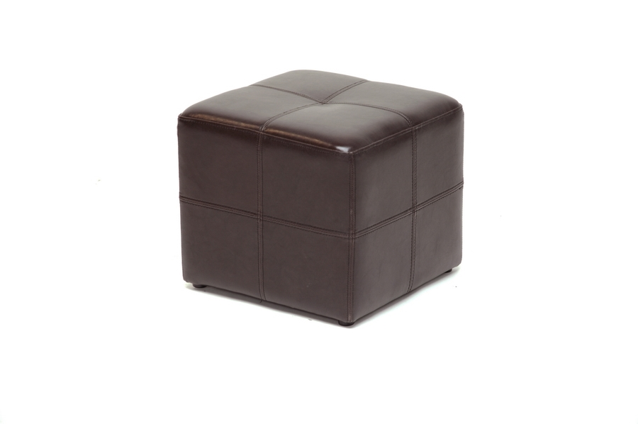 Baxton Studio Nox Brown Leather Small Inexpensive Cube Ottoman Nox Brown Leather Small Inexpensive Cube Ottoman, BSST-19-Dark Brown, Baxton Studio Affordable Modern Design