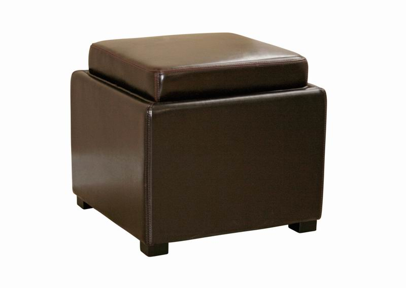 Charmant Tate Brown Leather Storage Ottoman With Reversible Wood Tray | Affordable  Modern Design | Baxton Studio